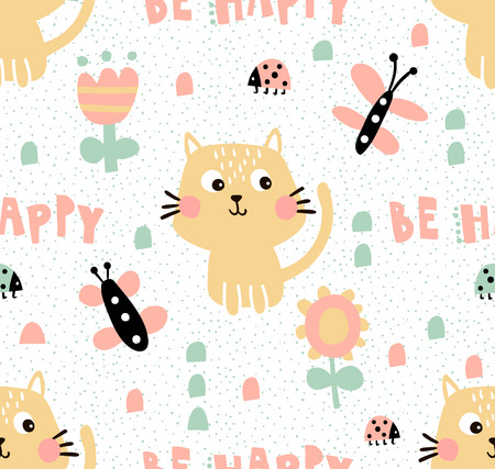 vector seamless pattern, cute cats, butterflies and flowers Illustration