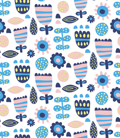 vector seamless pattern, beautiful and simple blue flowers in trendy scandinavian style