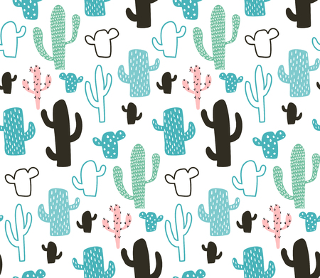 vector seamless pattern, cute cactus on white background Иллюстрация