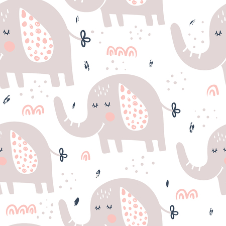 vector seamless pattern, cute and funny elephants