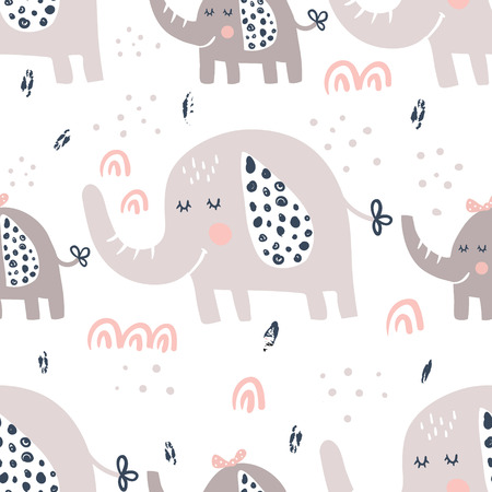 vector seamless pattern, cute elephants on white background