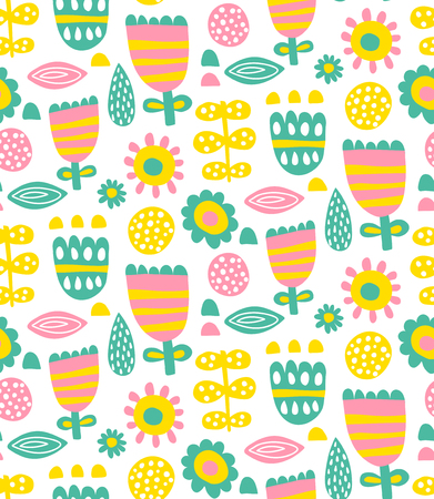 vector seamless pattern in scandinavian style, floral background