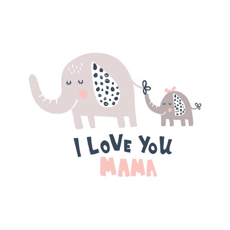 vector illustration cute elephant and baby, hand lettering i love you mama text Иллюстрация