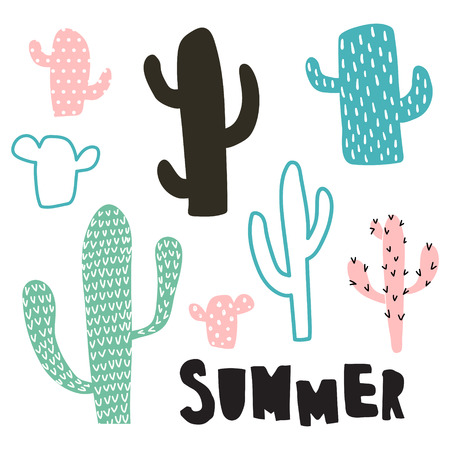 vector set of cacti, summer hand lettering text Иллюстрация