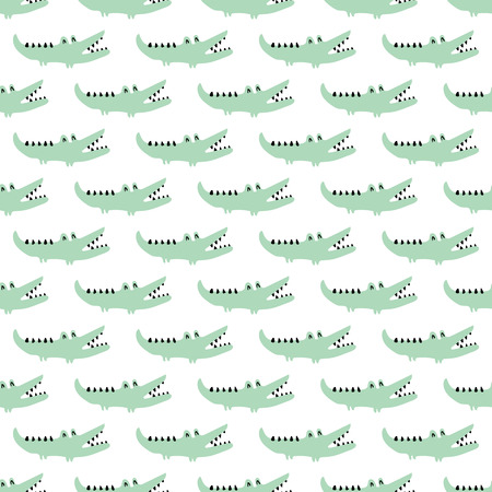 vector seamless pattern, funny green crocodiles