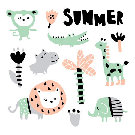 vector set, jungle animals, summer hand lettering text