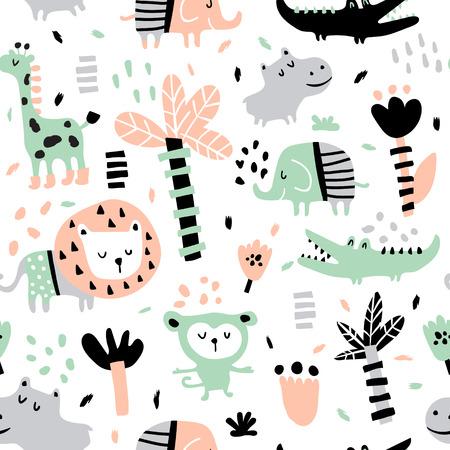 vector seamless pattern in scandinavian style, jungle animals Ilustração