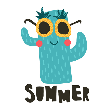 vector illustration, funny cactus wearing pineapple sunglasses, summer hand lettering text Иллюстрация