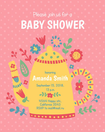 vector template, invitation for a baby shower, cute teapot on dotted background