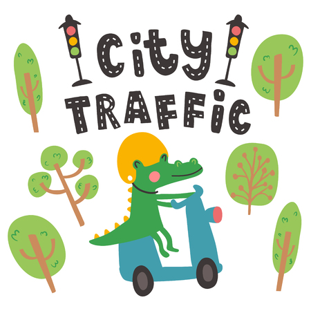 vector illustration, crocodile riding a motobike, cute trees and city traffic hand lettering text