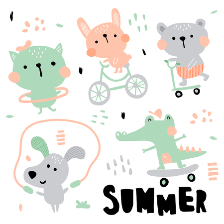 vector set  of cute animals illustration, summer activities for children