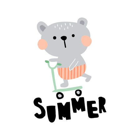 vector illustration of a cute bear on a scooter, hand lettering summer text Иллюстрация