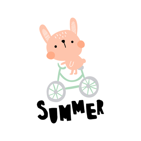 vector illustration of a funny bunny riding a bike, summer hand lettering text Иллюстрация