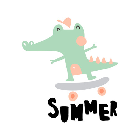 vector illustration of a funny crocodile on a skateboard and hand lettering summer text