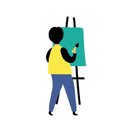 vector illustration in modern style, artist man painting on easel