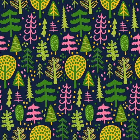 vector seamless pattern, bright trees on a dark background Иллюстрация