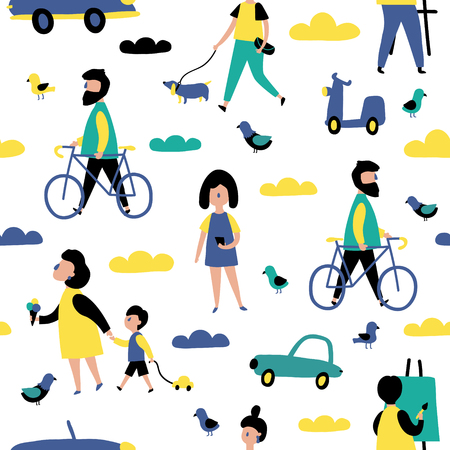 vector seamless pattern, people are walking in the city