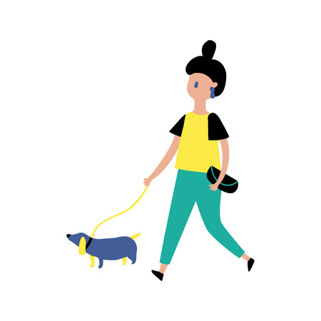 vector illustration in modern style, hipster girl is walking with her dog