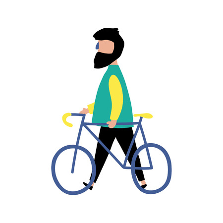 vector illustration, hipster man walking with his bike