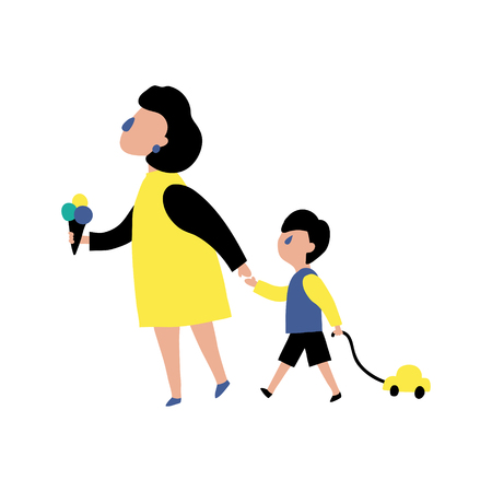 vector illustration in modern style, mother is walking with her son Иллюстрация