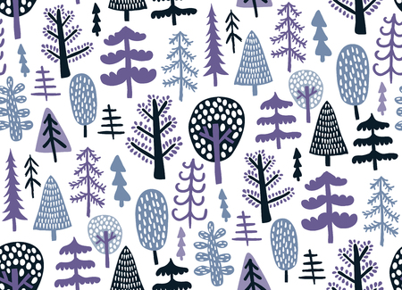 vector seamless pattern with cute hand drawn trees