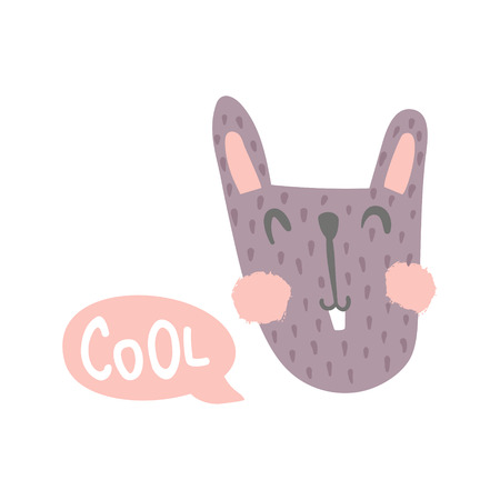 vector illustration, cute goofy style bunny and cool hand lettering text in a speech bubble Иллюстрация