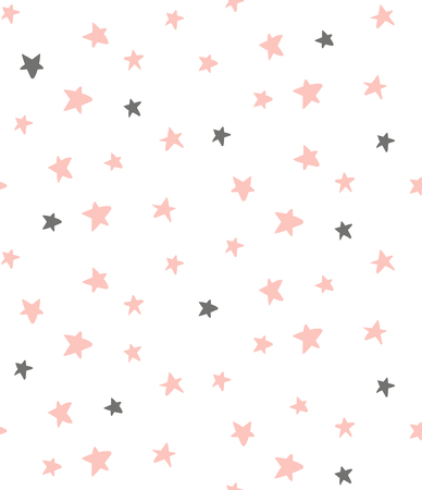 vector seamless pattern, cute little stars on white background Иллюстрация