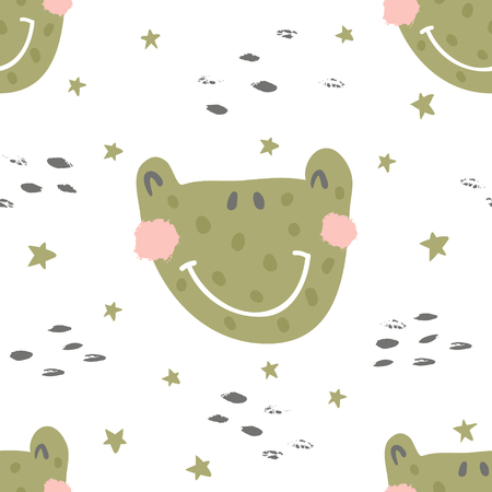 vector seamless pattern, cute frog face and textures Иллюстрация