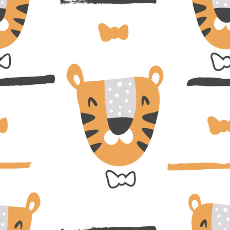 vector seamless pattern with cute tiger face and stripes Иллюстрация