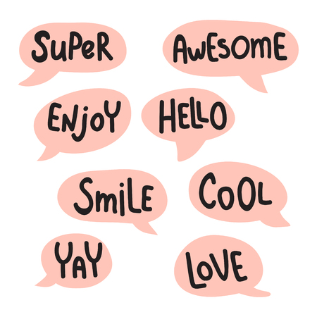 vector set, funny words set in a pink bubbles, hand lettering