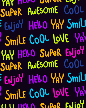 vector seamless pattern, neon bright colors, hand lettering words
