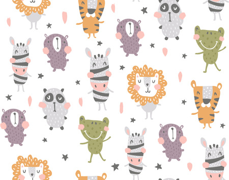 vector seamless pattern, scandinavian style animals on white background