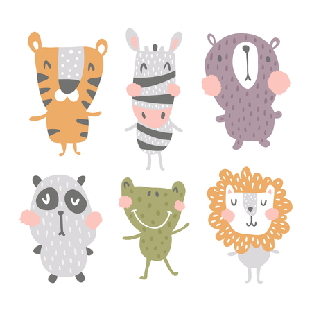 vector set of cute and funny scandinavian style nursery animals