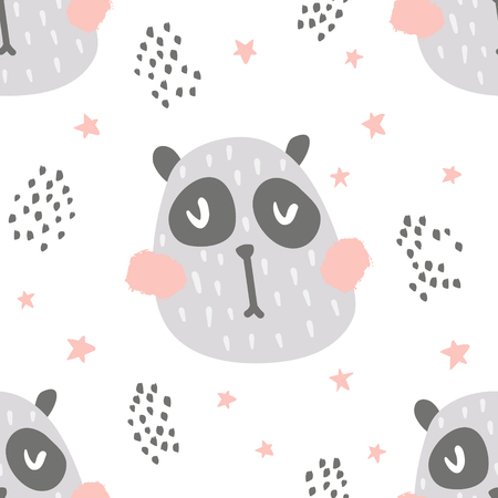 vector seamless pattern, cute panda in scandinavian style