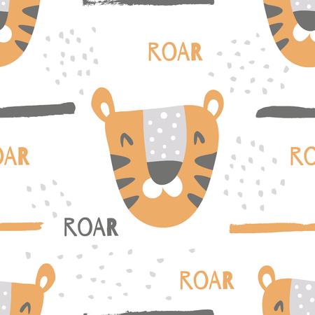 vector seamless pattern with cute tiger heads, roar text