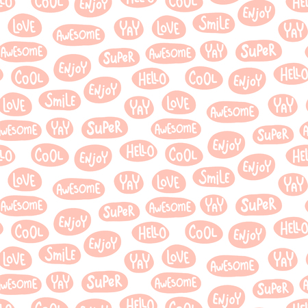 vector seamless pattern, words in pink bubbles Иллюстрация