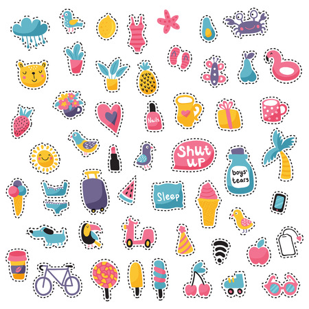 vector set of stitched icons, summer set, white background