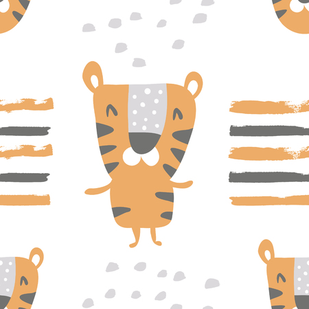 vector seamless pattern, cute standing tiger on white background Иллюстрация