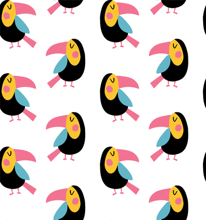 vector seamless pattern, cute toucan birds on white background