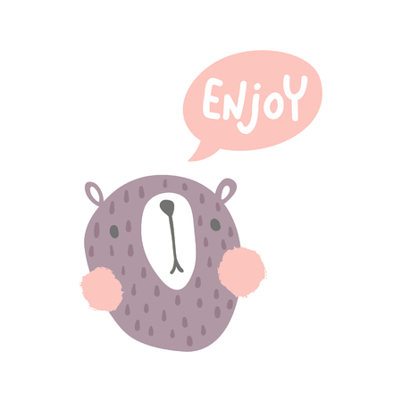 vector illustration, scandinavian style cute bear and enjoy hand lettering text in a pink speech bubble Иллюстрация
