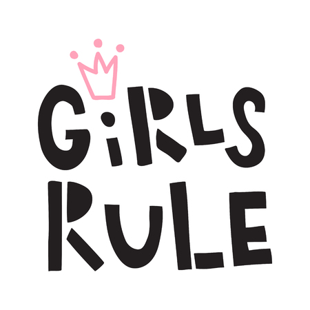 vector illustration, girls rule hand lettering text, little crown