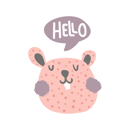 vector illustration, cute hamster head and hello hand lettering text in a pink speech bubble