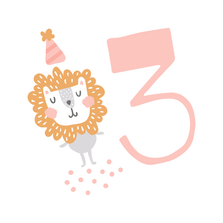 vector illustration, cute lion in a birthday card and big pink three number