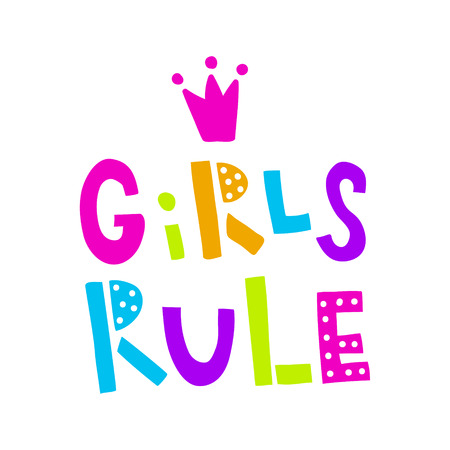 vector illustration, girls rule neon hand lettering text on isolated background