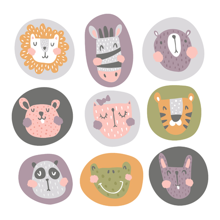 vector set of a cute animals heads on isolated background