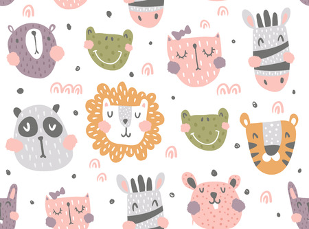 vector seamless pattern, cute scandinavian animals on isolated background