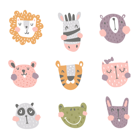 vector set of cute scandinavian animals heads on isolated background Иллюстрация
