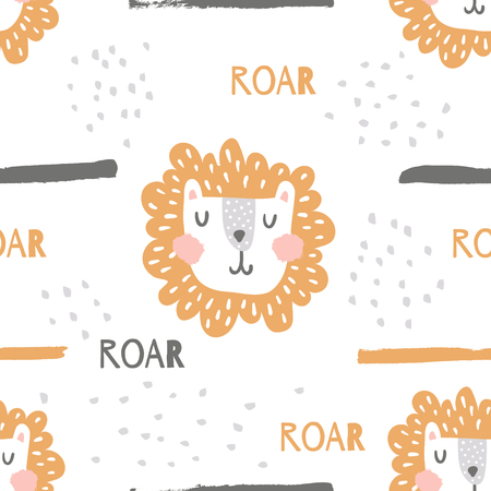 vector seamless pattern, cute lion head and roar text