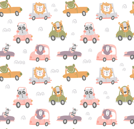 vector seamless pattern, cute scandinavian animals driving cars