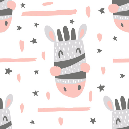 vector seamless pattern, cute zebra head on white background
